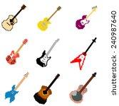 pixel art guitar collection | Shutterstock .eps vector #240987640