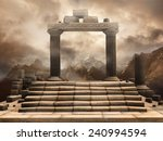 fantasy scenery with a ruined... | Shutterstock . vector #240994594