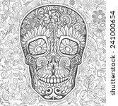 human skull made of flowers ... | Shutterstock .eps vector #241000654