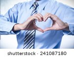 businessman making a heart with ... | Shutterstock . vector #241087180
