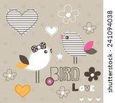 cute bird love card polka dot... | Shutterstock .eps vector #241094038