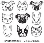 Stock vector a vector set of dog cat and rabbit faces drawn in a scratchy style in black and white 241101838