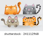 cute cartoon cats peering over... | Shutterstock .eps vector #241112968