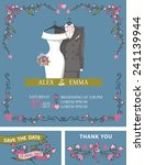 retro wedding invitation set... | Shutterstock .eps vector #241139944