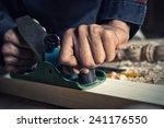Close Up Of Carpenter's Hands...