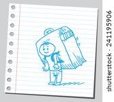 schoolkid with big school bag | Shutterstock .eps vector #241195906