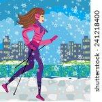 nordic walking   active woman... | Shutterstock . vector #241218400