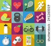 set of fitness icons in flat... | Shutterstock .eps vector #241260019