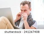ill man suffering from rhinitis ... | Shutterstock . vector #241267408