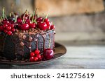 chocolate cake with cherries on ... | Shutterstock . vector #241275619