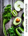 mix of green vegetables and... | Shutterstock . vector #241279108