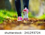 woman jogging away from camera... | Shutterstock . vector #241293724