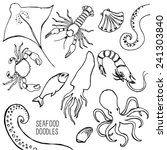 hand drawn maritime animals set.... | Shutterstock .eps vector #241303840