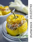 yellow peppers stuffed with... | Shutterstock . vector #241325743