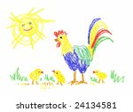 three chicken and  rooster in... | Shutterstock . vector #24134581