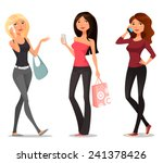 cute cartoon girls with mobile...