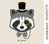 Hand Drawn Portrait Of Raccoon...