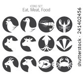 Icons Set   Animal  Meat ...