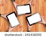 top view of hands holding three ... | Shutterstock . vector #241418350
