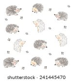Stock vector childish hedgehog cute pattern design for fabrics textile wall prints cards etc editable 241445470