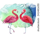 Flamingos. Watercolor Tropical...