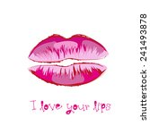 lips painted with a brush ... | Shutterstock .eps vector #241493878