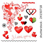 Various variants of hearts for your design - stock vector
