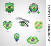 icon set with flag of brazil