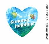 sea heart. watercolor nautical... | Shutterstock .eps vector #241516180
