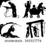 silhouettes of of the miners in ...