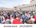 Small photo of ROME - MAY 18, 2014: The crowd is waiting in St. Peter Square before the Angelus prayer of Pope Francis I, Vatican City, Rome, Italy.