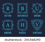 light blue monogram logos set... | Shutterstock .eps vector #241568290