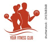 fitness logo with muscled man...