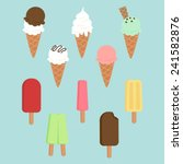 Set Of Ice Creams And Popsicles.