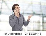 young businessman talking... | Shutterstock . vector #241610446