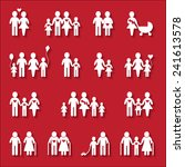 white family icon set on red... | Shutterstock .eps vector #241613578