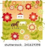 sweet home and red flower garden | Shutterstock .eps vector #241619398
