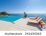 luxury swimming pool and blue... | Shutterstock . vector #241654363