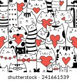 cats with hearts seamless... | Shutterstock .eps vector #241661539