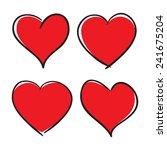 set of hand drawn hearts ... | Shutterstock . vector #241675204