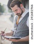 handsome big moustache hipster... | Shutterstock . vector #241681966