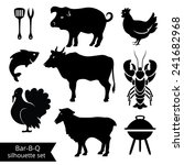 set of bbq silhouettes on white ... | Shutterstock .eps vector #241682968