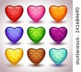 cute cartoon glossy hearts with ...
