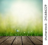 summer background with wooden... | Shutterstock . vector #241686229