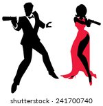 spy couple  silhouettes of spy... | Shutterstock .eps vector #241700740
