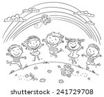 kids jumping with joy on a hill ...   Shutterstock .eps vector #241729708