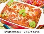 chicken   chorizo enchiladas  ... | Shutterstock . vector #241755346