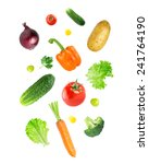 falling fresh vegetables on... | Shutterstock . vector #241764190