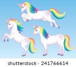 A Set Of Three Cartoon Unicorn...