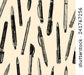 pattern of writing instruments | Shutterstock .eps vector #241767256
